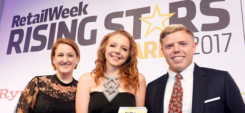 Photo of Jessica Heppleston winning Retail Week Rising Star Award 2017