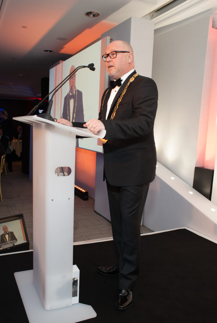 Chris Gibson gives his inaugural speech at EDA President at the EDA Annual Awards 2019