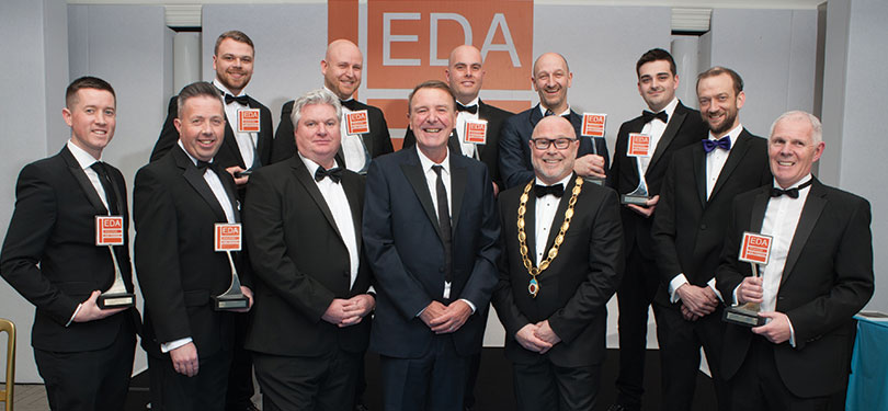 He's bowled over! Cricket ace Phil Tufnell celebrates with EDA Award Winners