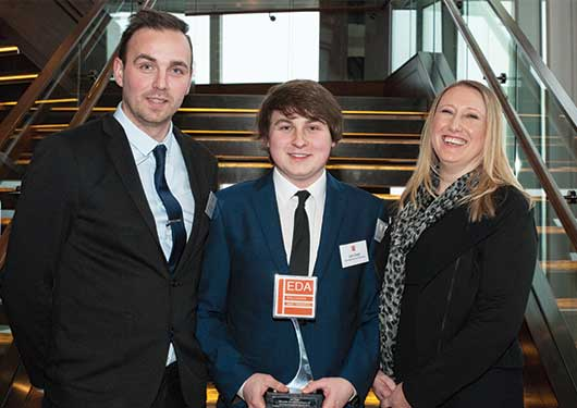 Levi Craze with Manager Sam Stephens and Michelle McCutcheon at EDA Apprenticeships Plus