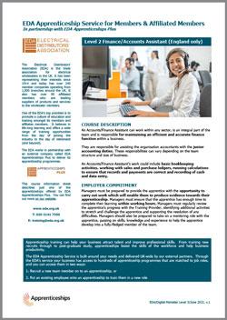Accounts Finance Assistant Apprenticeship Fact Sheet