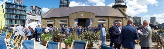 On the bank of the Thames: open air space at Trinity Buoy Wharf with great views of the O2