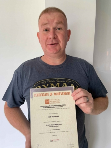 Electrium Sales Engineer, Billy McDonald, with his second Distinction certificate for his module Distribution, Switchgear and Protection