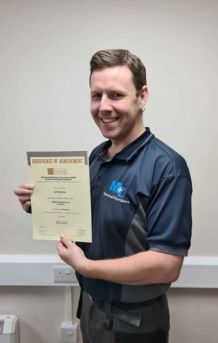 Carl-Haycock from M+D Electrical Distributors, receiving his second Distinction Certificate for Lighting Systems & Controls