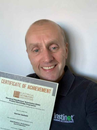 Business Development Manager, Darren Garbett, from Electrium Sales. Here he is with his first Distinction certificate for the module Distribution, Switchgear and Protection