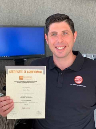 Electrium's Regional Sales Manager for the Midlands, Dave Clark with his Distinction certificate