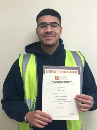 Dylan Jassi with his certificate distinction for Lighting (Introduction)