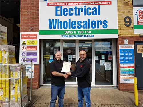 Jason Kenny (l) of Grant & Stone Hemel Hempstead receiving his second Distinction certificate from manager Mark Lawes (r) Keep up the great work!