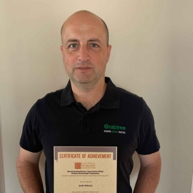 Keith-Willcock, Area Sales Manager at Electrium, with his EDA Certificate of Achievement for his first module Introduction to the Principles of Electricity