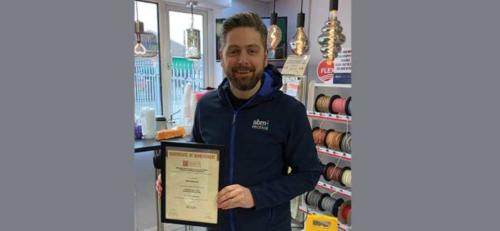 ABM Electrical Managing Director, Mark Aswhorth, with his Distinction certificate for his first module Introduction to the Principles of Electricity