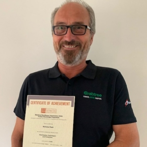 Nick Flack, Sales Engineer at Electrium, with his second EDA Certificate of Achievement for module Distribution, Switchgear and Protection
