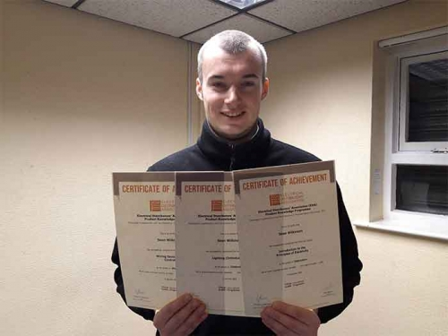 Sean Wilkinson, from Bennett & Fountain Leeds, with his certificates for completing three EDA Product Knowledge Modules.