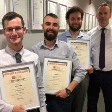 Stearn Manchester Centre Manager, Mark Booth (far right), with his team (l-r) Ben Pickup, Matthew Hill and Ryan Edwards who all achieved Distinctions.