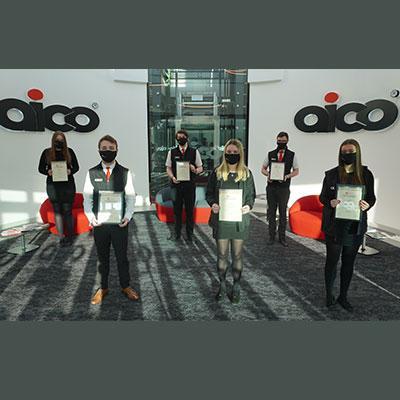 Aico apprentices with their EDA Module Certificates: Ella, Kieran, Olivia, Owen, Sam and Stephanie