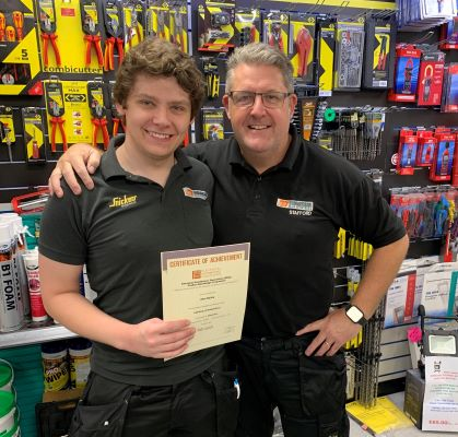 Congratulations to Alex Bailey of Edmundson Electrical Stafford receiving his lighting intro distinction certificate from Alan Bailey
