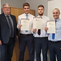 Stearn's Centre Manager at Leighton Buzzard, Jason Clarke, with his team (l-r) George Bridgman, Olly Kendall and Chris Hooley all of whom achieved Distinctions