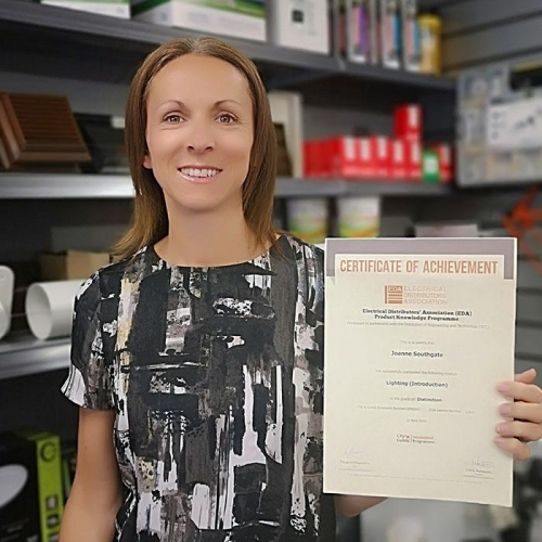 Jo Southgate, Managing Director at M.D.E. Electrical Supplies in Ipswich with one of several Distrinction certificates!