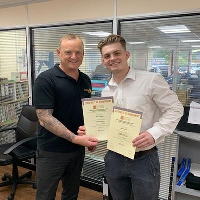 Congratulations to Will Groves(r) of Electric Center, Cheltenham for his 2 Distinctions. Pictured here with Manager, Steve Rogers